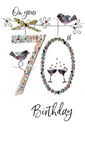 "alt=""70th Birthday Birds quality hand-finished, glitter embellished greeting card sealed in a protective wrapping complete with envelope. Message: On your 70th Birthday. 70 years young today, so here's to celebrating you! Congratulations"""