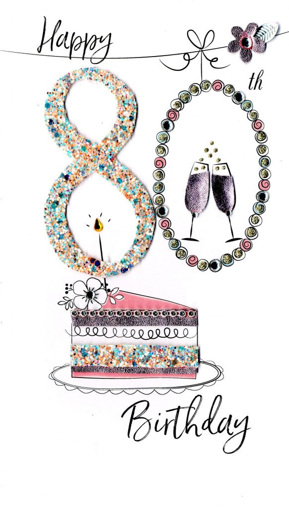 80th birthday multicoloured cake quality hand-finished, glitter embellished greeting card sealed in a protective wrapping complete with envelope. Message: Happy 80th Birthday. Congratulations! Enjoy your very special day""