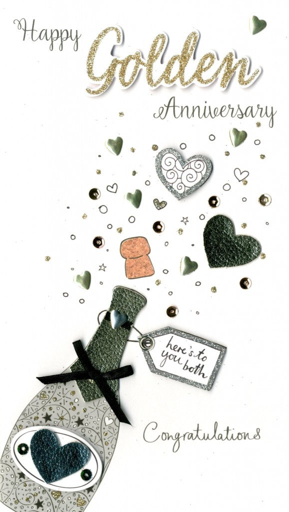 Quality hand-finished, glitter embellished greeting card by Second Nature sealed in a protective wrapping complete with envelope.  Message: Happy Golden Anniversary here's to you both. Congratulations. Congratulations on 50 wonderful years! Enjoy celebrating this special occasion together. Happy Anniversary.