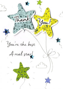 Quality hand-finished, glitter embellished greeting card by Second Nature sealed in a protective wrapping complete with envelope.  Message: Thank You! You're the best a real star! Thanks a million!