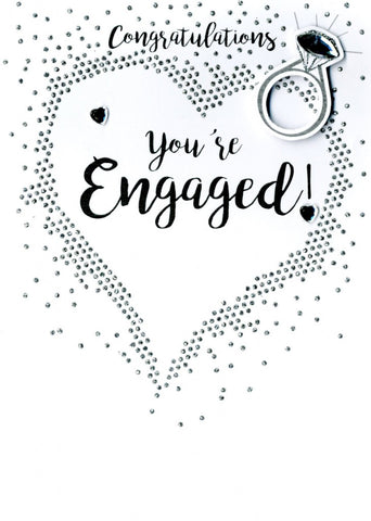 Quality hand-finished, glitter embellished greeting card by Second Nature sealed in a protective wrapping complete with envelope.  Message: Congratulations You're Engaged! Wishing you a wonderful future together.