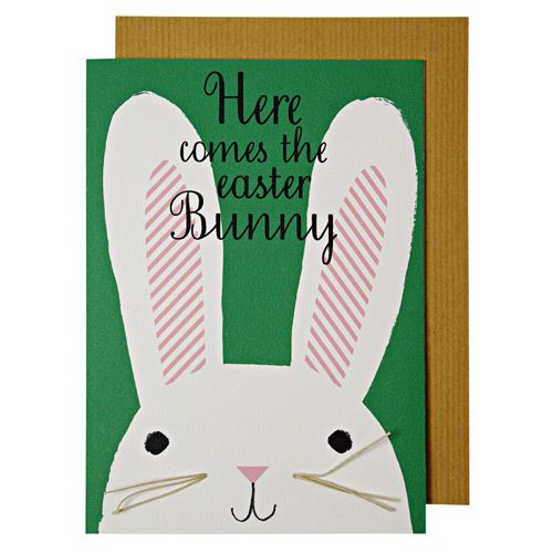 "alt=""Quality hand-finished 'Here comes the Easter bunny' greeting card by Meri Meri sealed in a protective wrapping complete with envelope"""