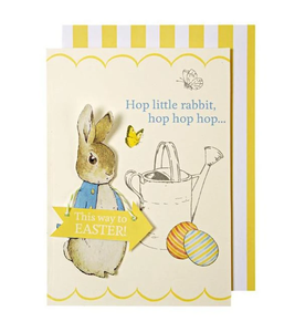 "alt=""Quality hand-finished Peter Rabbit Easter greeting card by Meri Meri sealed in a protective wrapping complete with envelope"""