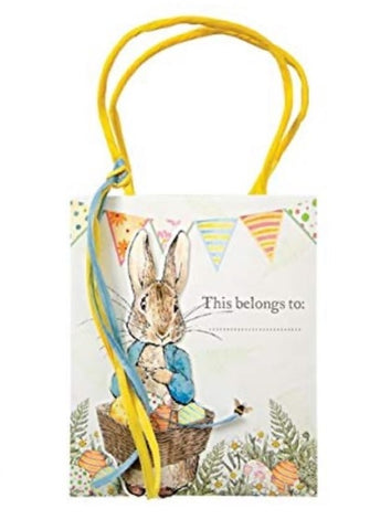 "alt=""Adorable Meri Meri Easter gift bag featuring Peter Rabbit by Beatrix Potter and blue and yellow ribbon"""