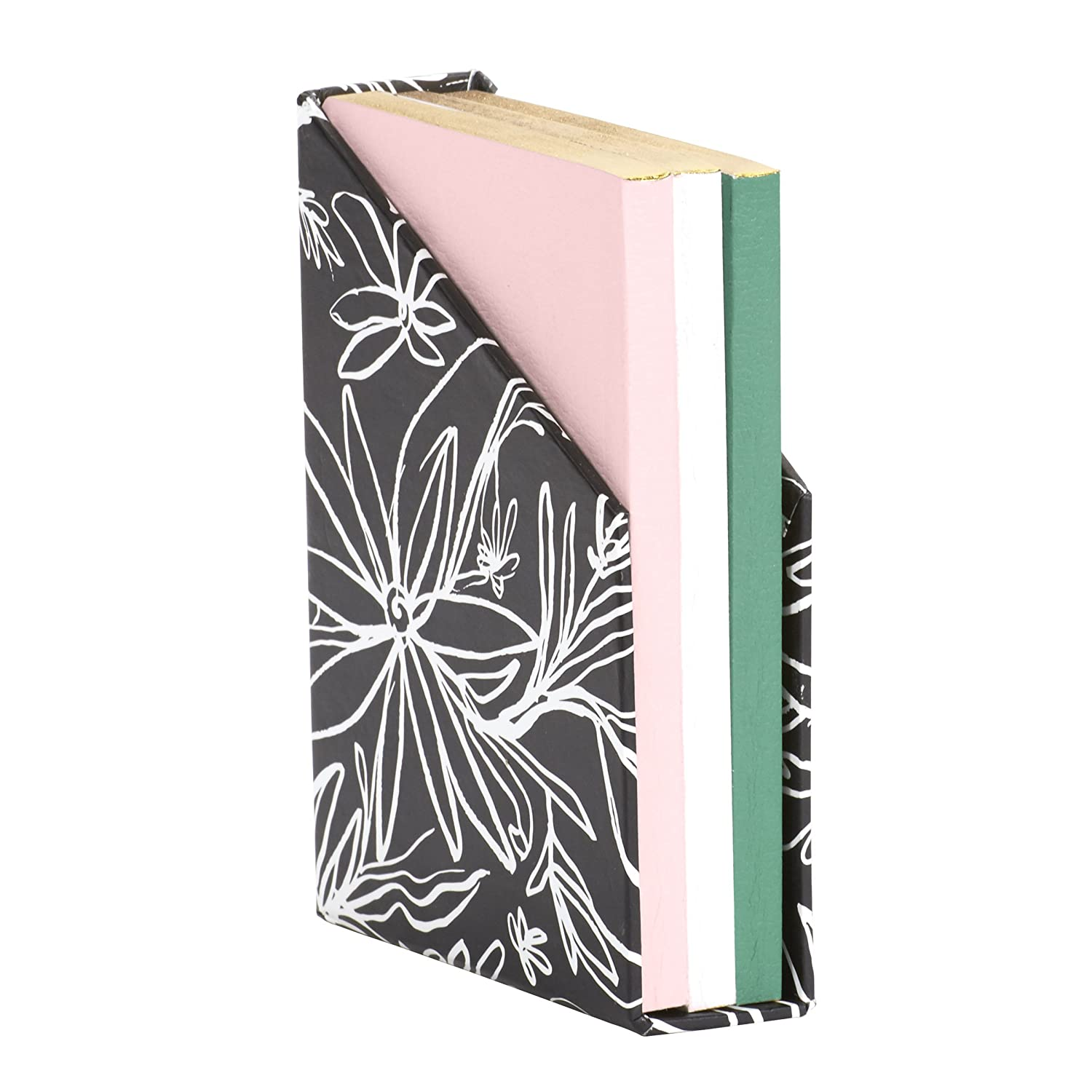 "alt=""Mini flex organic journal set with black and white floral enclosure and pink, white and green journals with black cursive sentiments"""
