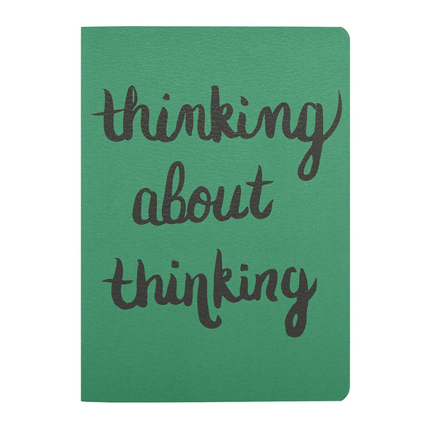 "alt=""Mini green thinking about thinking black cursive sentiment journal"""