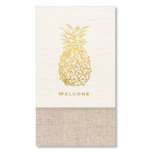 "alt=""Package of 16, 3ply premium paper guest towels/dinner napkins. Linen-look pattern with gold foil pineapple"""