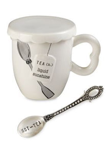 "alt=""Three piece tea mug set includes mug with Liquid Sunshine sentiment, cover and Hot Tea stamped silver-plate spoon"""