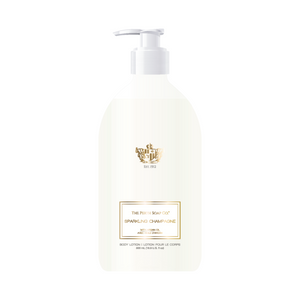 "alt=""Sparkling Champagne Body Lotion with effervescent champagne notes accented with mandarin, grapefruit, apple, peach, ozonic-mint, cyclamen, rose, musk, amber, sandalwood and vanilla"""