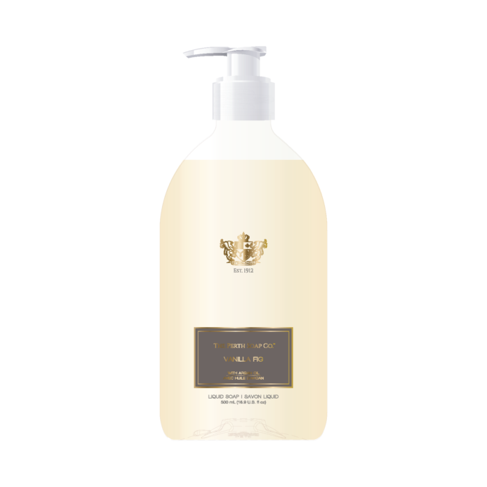 "alt=""Vanilla Fig Liquid Soap with rich, juicy fig and lush vanilla notes accented with jasmine, violet petals, white lily, amber, sandalwood, moss and coconut"""