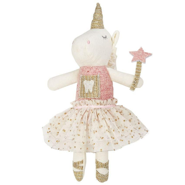 "alt=""Pink, white and gold linen and herringbone tweed unicorn tooth fairy doll with tooth chest pocket, mesh tutu, gold fringe mane, and woven gold lurex horn, wand, and ballet slippers"""
