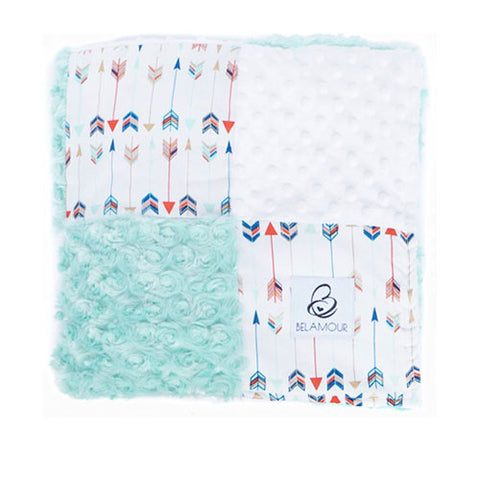 "alt=""White and mint cotton and chenille gender neutral baby blanket with arrow pattern"""