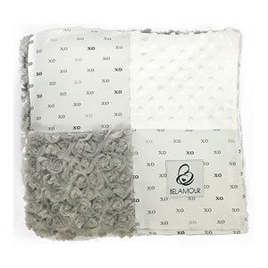 "alt=""Belamour's Hugs & Kisses baby blanket with the softest white dot chenille, soothing silver rose chenille and the classic XOXOX cotton pattern"""