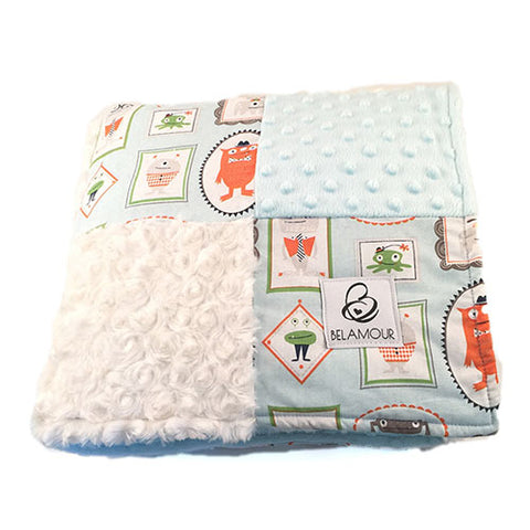 "alt=""Aqua and off white chenille and cotton monster minky baby boy blanket"""