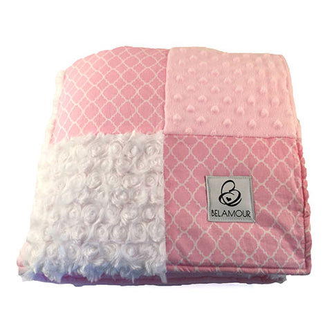 "alt=""Belamour's Quatrefoil Pink baby blanket with the softest baby pink dot chenille, bright, crisp white rose chenille and the classic Quatrefoil cotton pattern"""