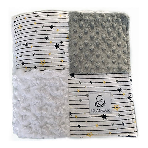 "alt=""Belamour's Stars and Stripes baby blanket with soft grey dot chenille, crisp white rose chenille and a modern star and stripe cotton pattern"""