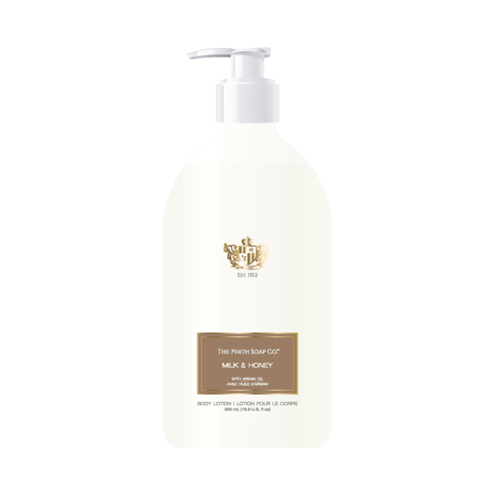 "alt=""Milk & Honey Body Lotion with buttery honey and creamy milk notes are accented with sweet anise, orange, cinnamon and smooth sandalwood"""