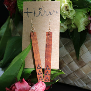 Mauna 'Ekolu Hawaiian Koa Wood - 14k Gold Filled/ Sterling Silver Earrings
