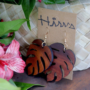 Monstera Hawaiian Koa Wood - 14k Gold Filled/ Sterling Silver Earrings