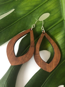 Teardrop Large Hawaiian Koa Wood - Sterling Silver Earrings *Natural Imperfections