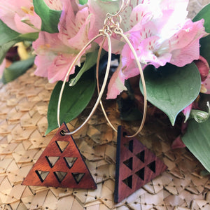 Mauna Kea Hawaiian Koa Wood - 14k Gold Filled/ Sterling Silver Hoop Earrings