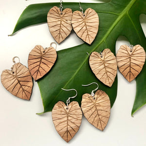 Kalo Hawaiian Koa Wood (Limited Light color) - 14k Gold Filled/ Sterling Silver Earrings