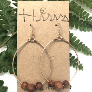 Koa Wood Bead - 14k Gold Filled Hoop Earrings