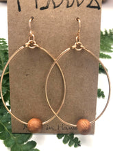 Load image into Gallery viewer, Koa Wood Bead - 14k Gold Filled Hoop Earrings
