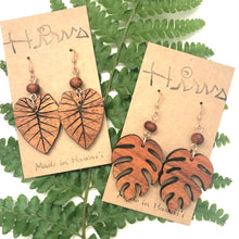 Load image into Gallery viewer, Monstera Hawaiian Koa Wood & Koa Bead- 14k Gold Filled Earrings