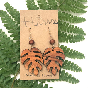 Monstera Hawaiian Koa Wood & Koa Bead- 14k Gold Filled Earrings