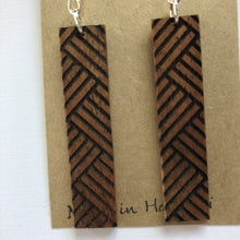 Load image into Gallery viewer, Lauhala Hawaiian Koa Wood - Sterling Silver Earrings *Natural Imperfections
