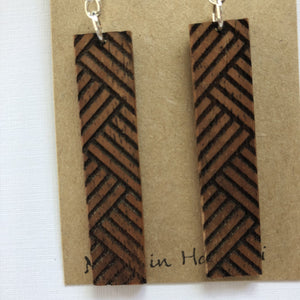 Lauhala Hawaiian Koa Wood - Sterling Silver Earrings *Natural Imperfections