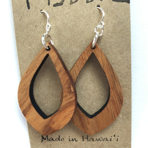Teardrop Small Hawaiian Koa Wood - Sterling Silver Earrings *Natural Imperfections