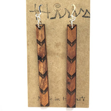 Load image into Gallery viewer, Kalo Kapa Hawaiian Koa Wood - Sterling Silver Earrings *Natural Imperfections