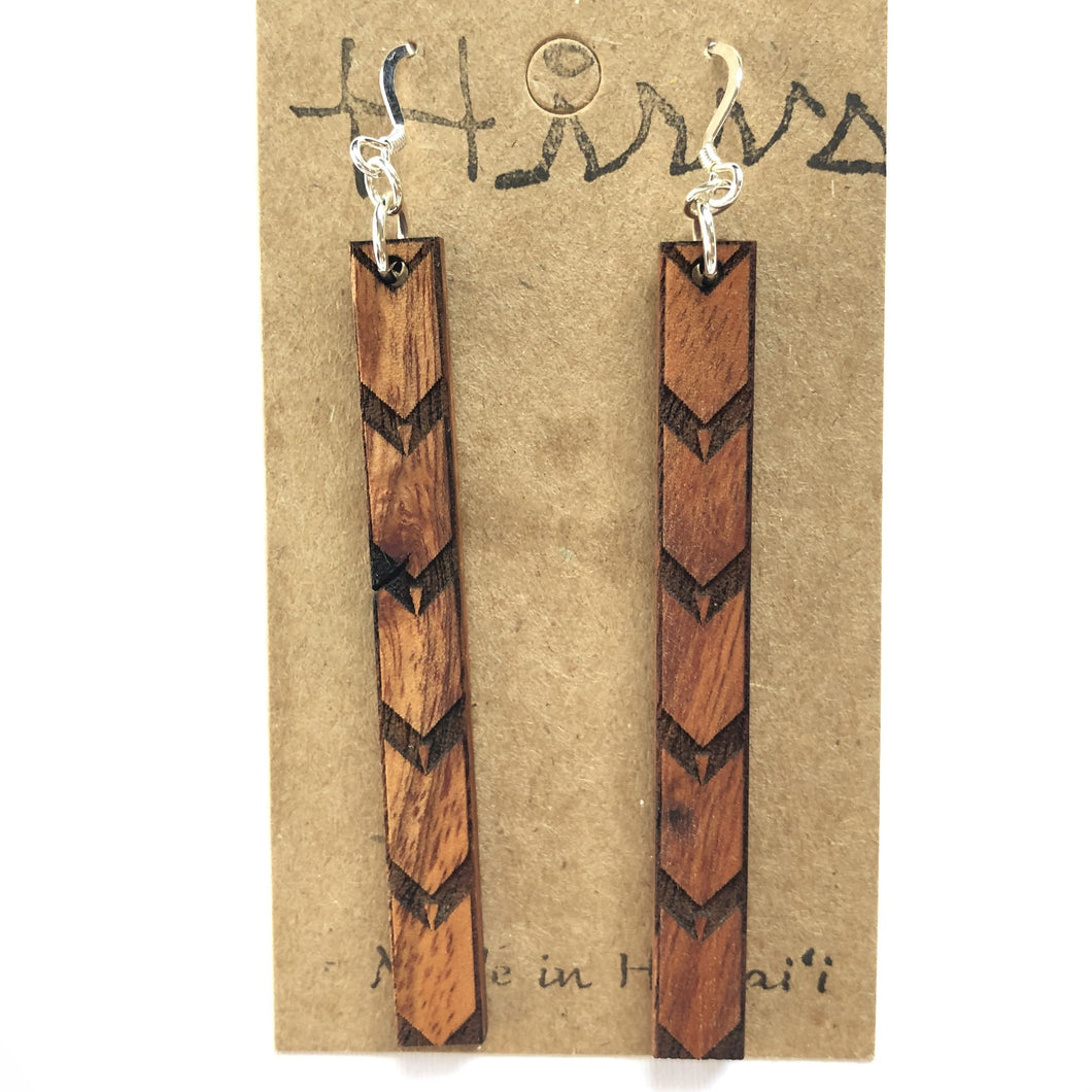 Kalo Kapa Hawaiian Koa Wood - Sterling Silver Earrings *Natural Imperfections
