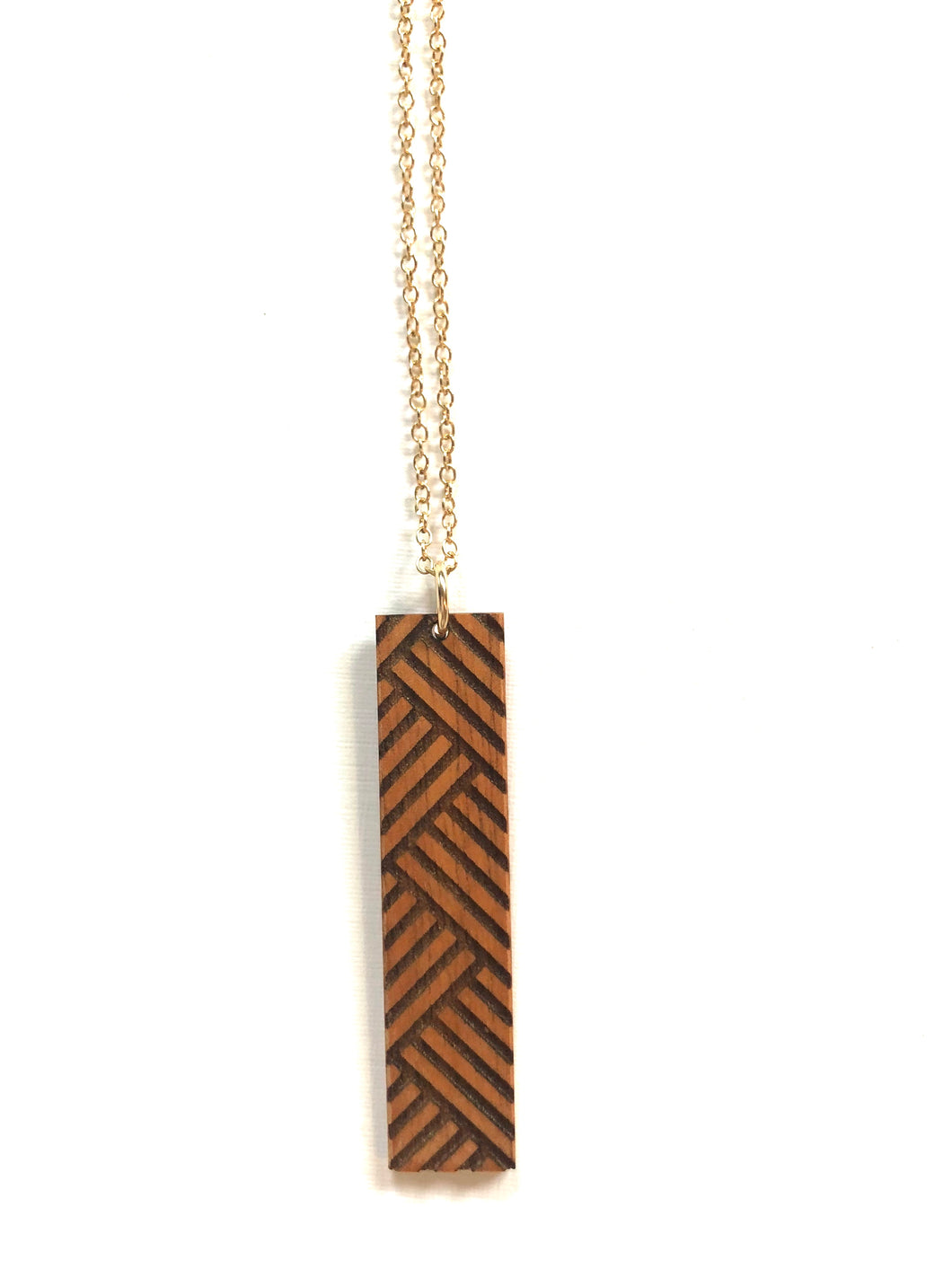 Lauhala Hawaiian Koa Wood w/ 14k Gold Filled Necklace