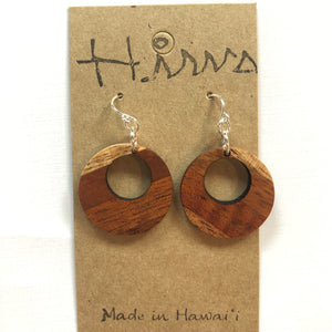 Hina Hawaiian Koa Wood - Sterling Silver Earrings *Natural Imperfections
