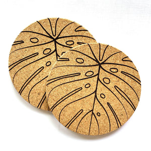 Monstera Print Cork Coasters Set of 2