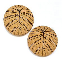 Load image into Gallery viewer, Monstera Print Cork Coasters Set of 2