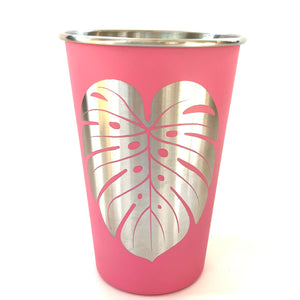 Monstera Laser Engraved Stainless Steel Pint Cup 16oz