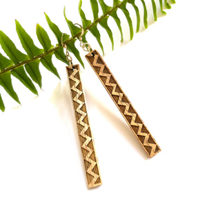 Lokahi Kapa (Limited Light Color) Hawaiian Koa Wood - 14k Gold Filled/ Sterling Silver Earrings