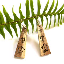 Load image into Gallery viewer, Honu Hawaiian Koa Wood (Limited Curly light color Koa) - 14k Gold Filled/ Sterling Silver Earrings