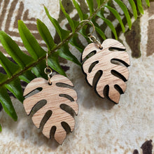 Load image into Gallery viewer, Monstera (Limited Light Color) Hawaiian Koa Wood - 14k Gold Filled Earrings