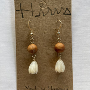 Koa Wood and Mother of Pearl Pikake Bead- 14k Gold Filled Earrings