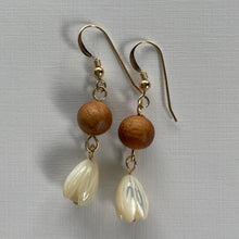 Load image into Gallery viewer, Koa Wood and Mother of Pearl Pikake Bead- 14k Gold Filled Earrings