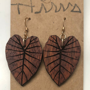 Kalo Hawaiian Koa Wood - 14k Gold Filled/ Sterling Silver Earrings