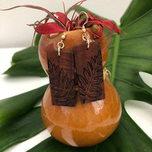 Load image into Gallery viewer, Laua'e Hawaiian Koa Wood - 14k Gold Filled/ Sterling Silver Earrings