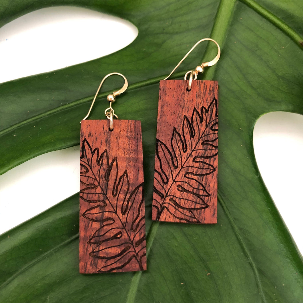 Laua'e Hawaiian Koa Wood - 14k Gold Filled/ Sterling Silver Earrings