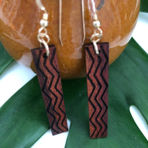 Wailele Hawaiian Koa Wood - 14k Gold Filled/ Sterling Silver Earrings