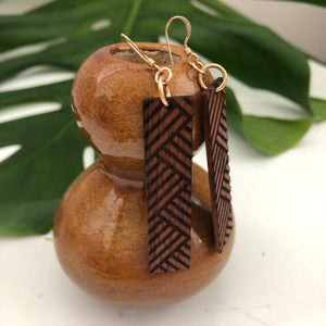 Lauhala Hawaiian Koa Wood - 14k Gold Filled/ Sterling Silver Earrings